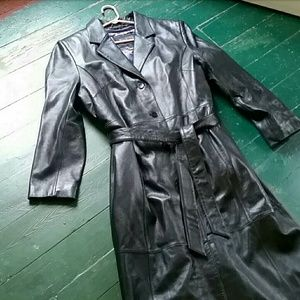 (Wilson Leather) Long Leather Trench Coat